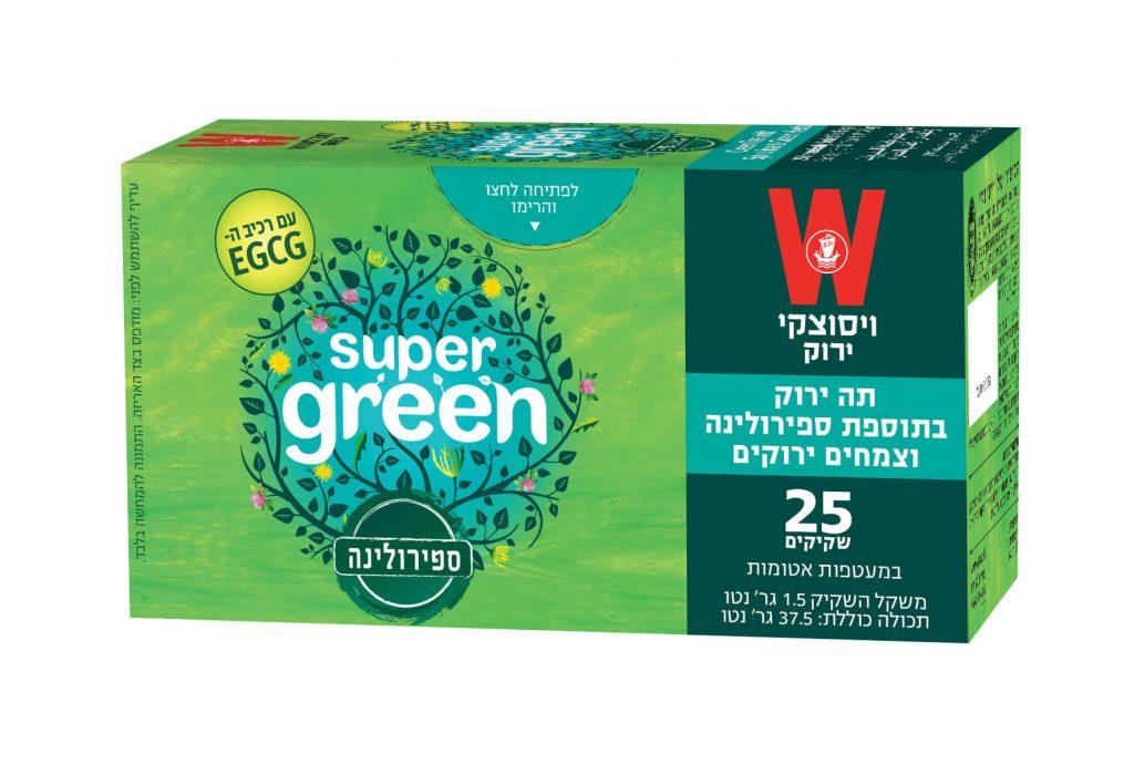 תה ירוק בתוספת ספירולינה וצמחים ירוקים